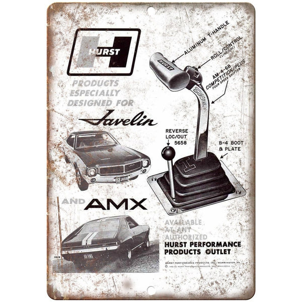 "Hurst Performance - Products Javelin AMX Shifter 10"" x 7"" Retro Look Metal Sign"