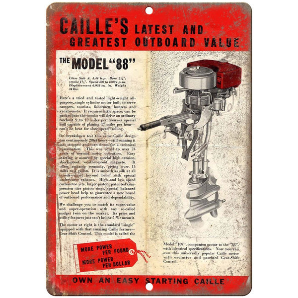 "Caille's Outboard Model 88 Boating Vintage Ad 10"" x 7"" Reproduction Metal Sign"