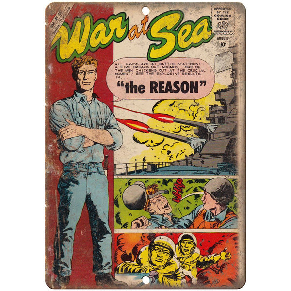 "War At Sea August Comic Book Cover Ad 10"" x 7"" Reproduction Metal Sign J711"