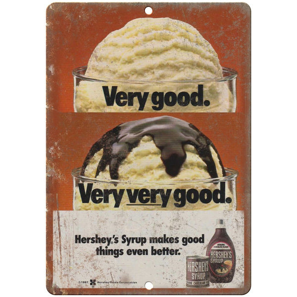 "Hersehy Chocolate Syrup Ice Cream Ad Vintage 10""x7"" Reproduction Metal Sign N14"