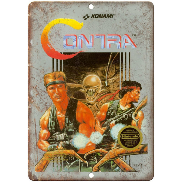 "Nintendo Contra Konami Gaming Box Art 10"" x 7"" Retro Look Metal Sign"