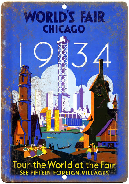 "1934 Chicago Worlds Fair Travel Poster 10"" x 7"" Reproduction Metal Sign T93"