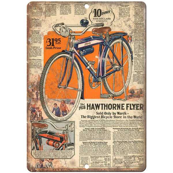 "1928 Hawthorne Flyer Bicycle Ad - 10"" x 7"" Retro Look Metal Sign"