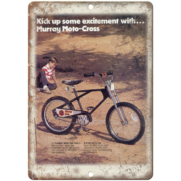 "Murray Dirty Cat Moto-Cross Bicycle Ad 10"" x 7"" Reproduction Metal Sign B03"