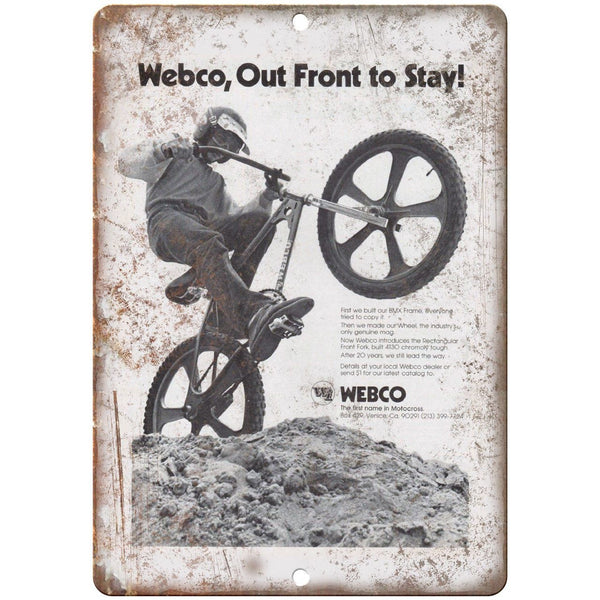 "Webco BMX Motocross Racing Vintage Ad 10"" x 7"" Reproduction Metal Sign B495"