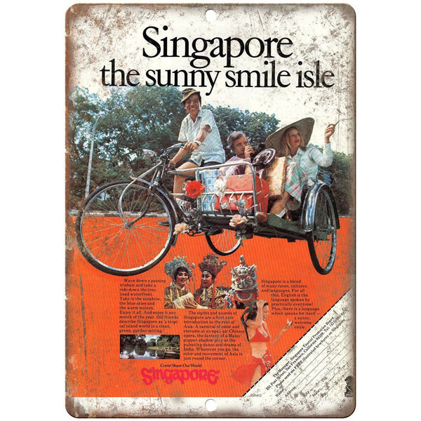 "Singapore Bicycle Vintage Art Ad 10"" x 7"" Reproduction Metal Sign B427"