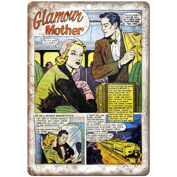 "Ace Comics Glamour Mother Comic Strip 10"" X 7"" Reproduction Metal Sign J398"