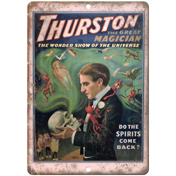 "Thurston The Great Magician Spirits 10"" X 7"" Reproduction Metal Sign ZH161"