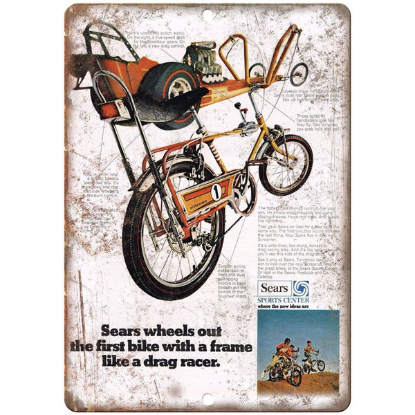 "Sears Sports Center Screamer BMX Bike Racer 10"" x 7"" Reproduction Metal Sign B13"