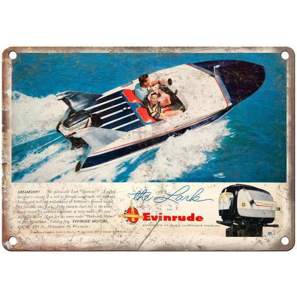 "Evinrude Outboard Motors The Lark Boating Ad 10"" x 7"" Reproduction Metal Sign"