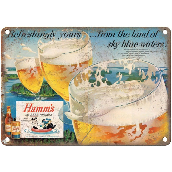 "10"" x 7"" Metal Sign - Hamm's Beer Sky Blue Waters - Vintage Look Reproduction"