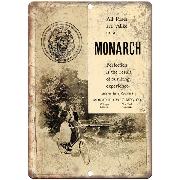 "Monarch Cycle Mfg. Co. Bicycle Vintage Ad 10"" x 7"" Reproduction Metal Sign B413"