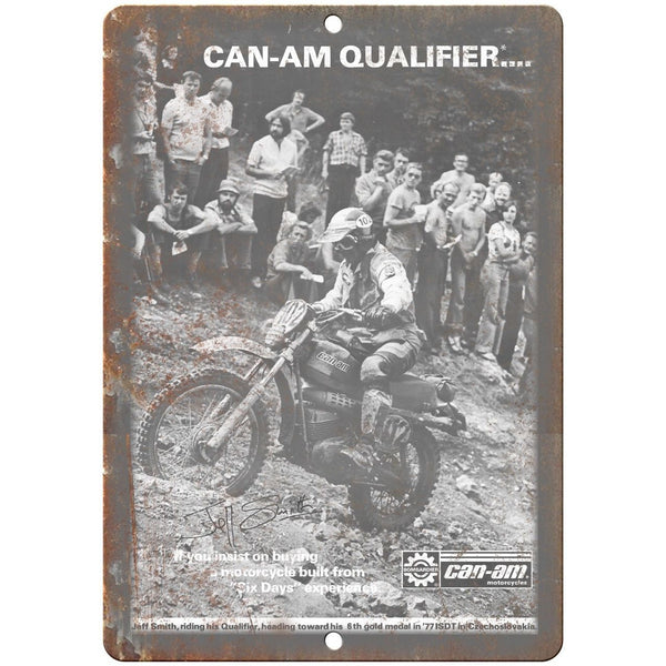 "Can-Am Motorcycle Vintage Ad Jeff Smith 10"" x 7"" Reproduction Metal Sign A382"