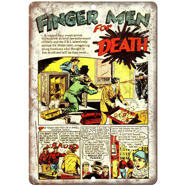 "Finger Men for Death Vintage Comic Strip 10"" X 7"" Reproduction Metal Sign J366"