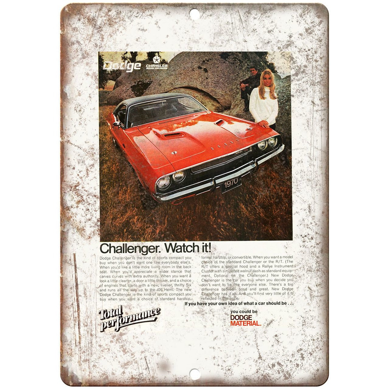 """1970 Dodge Challenger Sports Car 10"""" x 7"""" Reproduction Metal Sign"""