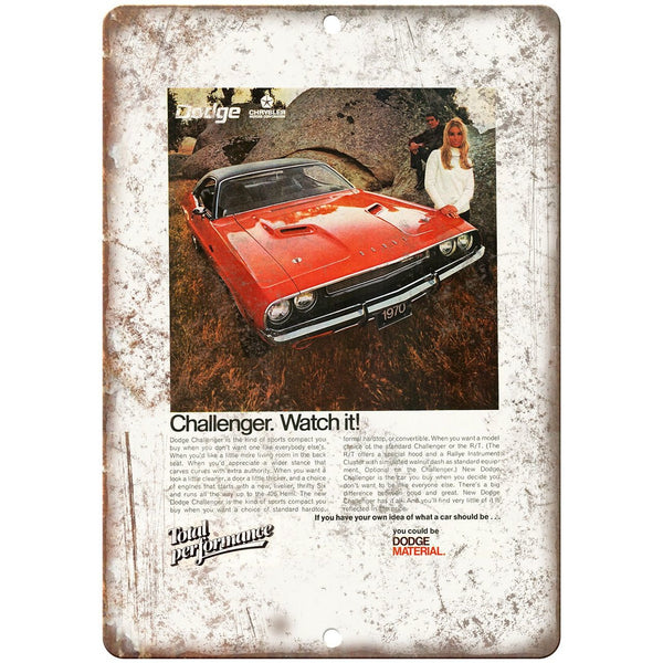 "1970 Dodge Challenger Sports Car 10"" x 7"" Reproduction Metal Sign"