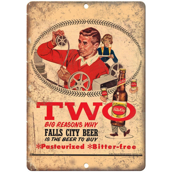 "Falls City Beer Two Reasons Why Vintage Ad 10"" x 7"" Reproduction Metal Sign E264"