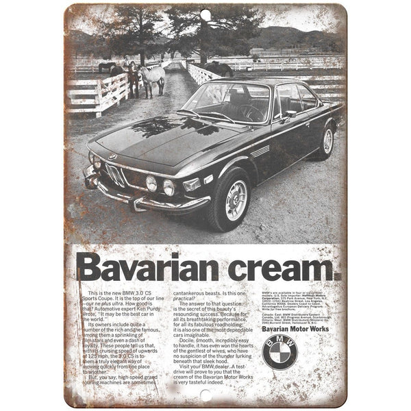 "BMW Bavarian Cream 3.0 CS Sports Coupe Ad 10"" x 7"" Reproduction Metal Sign A115"