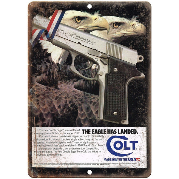 "Colt Double Eagle Pistol Vintage Ad 10"" x 7"" Reproduction Metal Sign"