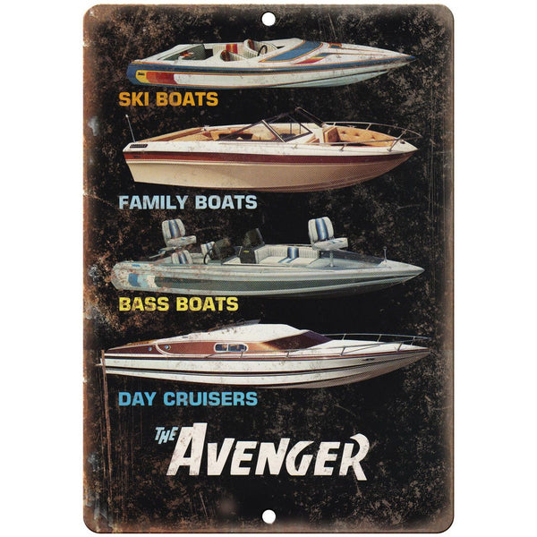 "The Avenger Boating Vintage Ad 10"" x 7"" Reproduction Metal Sign L45"