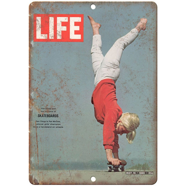 "Life Magazine Girl Skateboard Cover Retro Skate 10"" x 7"" Reproduction Metal Sign"