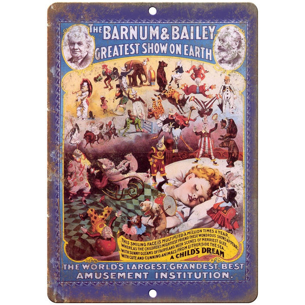 "A Child's Dream Barnum & Bailey Circus 10"" X 7"" Reproduction Metal Sign ZH137"
