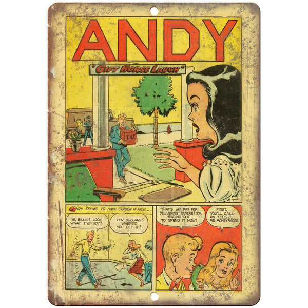 "Andy Comic Book Strip Vintage Art 10"" x 7"" Reproduction Metal Sign J507"
