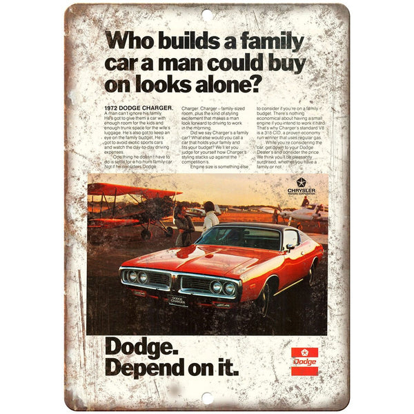"1972 Dodge Charger Sports Car 10"" x 7"" Reproduction Metal Sign"
