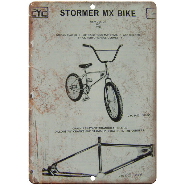 "Stormer MX Bicycle BMX Frame Vintage Ad 10"" x 7"" Reproduction Metal Sign B504"