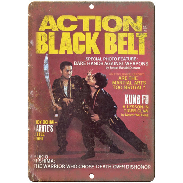 "1974 Action Black Belt Martial Arts Kung Fu 10"" x 7"" Reproduction Metal Sign X65"