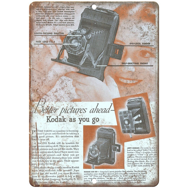 "1935 - Jiffy Kodak Film Camera 10"" x 7"" Retro Look Metal Sign"