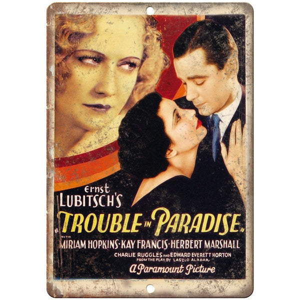 "Trouble in Paradise Ernst Lubitsch Movie Poster 10"" x 7"" Reproduction Metal Sign"