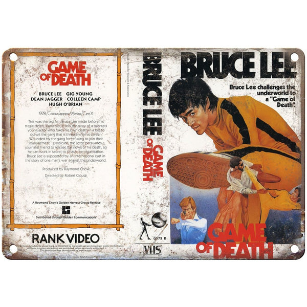 "1978 Bruce Lee Game of Death Video VHS Cover 10"" x 7"" Reproduction Metal Sign"