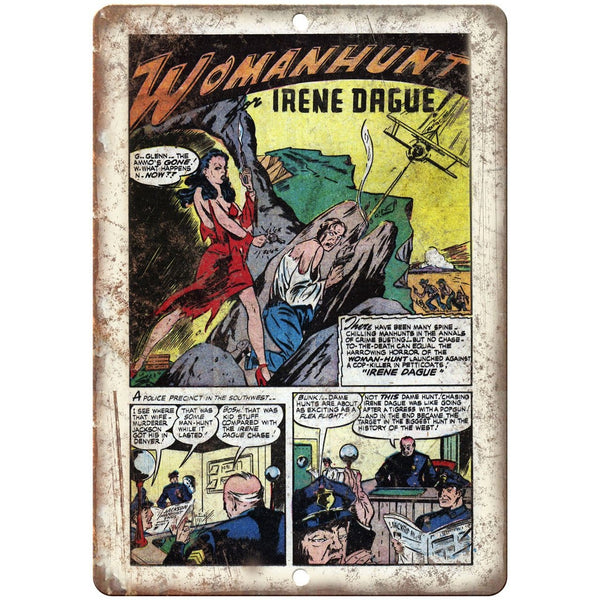 "Womanhunt Ace Comics Vintege Comic Strip 10"" X 7"" Reproduction Metal Sign J372"