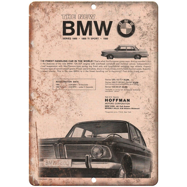 "BMW Series 1800 TI Sport Hoffman Motors 10"" x 7"" Reproduction Metal Sign A101"