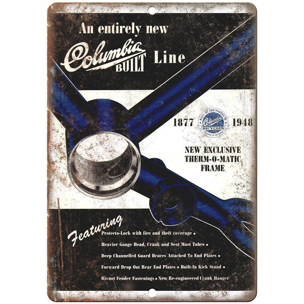 "1948 Columbia Bicycle Therm-o-Matic Frame Ad - 10"" x 7"" Retro Look Metal Sign"
