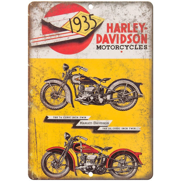 "1935 Harley Davidson Motorcycles Ad Poster 10"" X 7"" Reproduction Metal Sign F33"