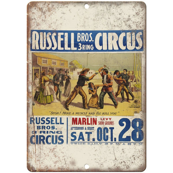 "Russell Bros 3 Ring Circus Poster 10"" X 7"" Reproduction Metal Sign ZH83"