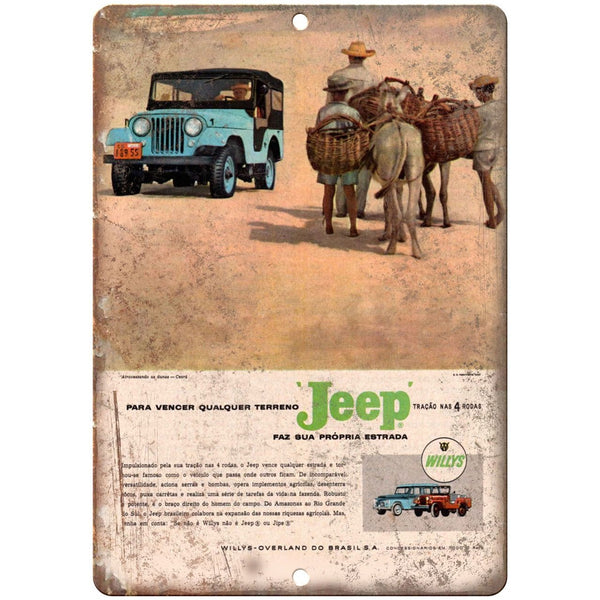 "Jeep Wagoneer Willys Overland Brazilian Ad 10"" x 7"" Reproduction Metal Sign"