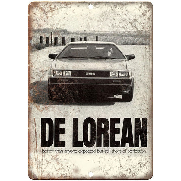 "DMC DeLorean Better Than Expected - 10"" x 7"" Retro Look Metal Sign"