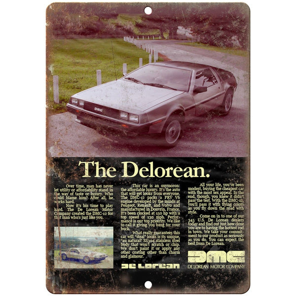 "DMC DeLorean Vintage Article Print Ad - 10"" x 7"" Retro Look Metal Sign"