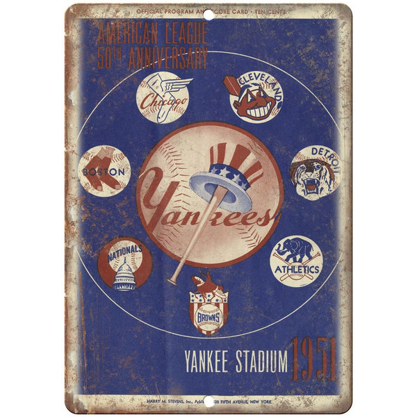 "Yankees 1951 50 Year Anniverasary Program 10"" x 7"" Reproduction Metal Sign X22"