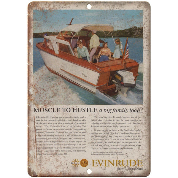 "Evinrude Outboard Motor Vintage Boating Ad 10"" x 7"" Reproduction Metal Sign L22"