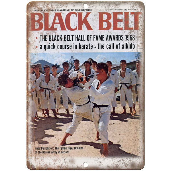 "1968 Black Belt Magazine Karate Aikido Korea 10""x7"" Reproduction Metal Sign X61"