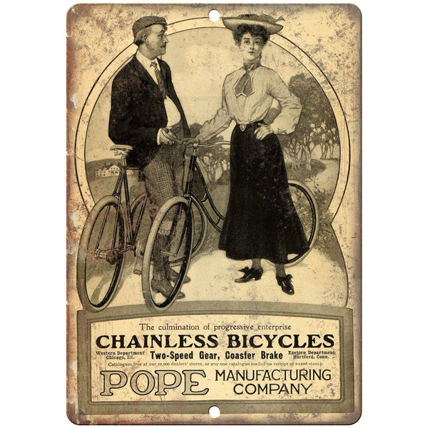 "Pope Mfg. Company Chainless Bicycle Ad 10"" x 7"" Reproduction Metal Sign B331"
