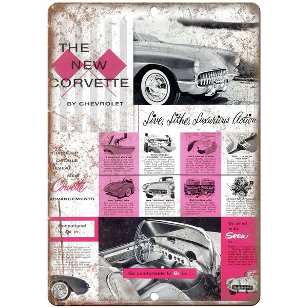 "1956 Chevy Corvette Dealer Sales Flyer 10"" x 7"" Reproduction Metal Sign"
