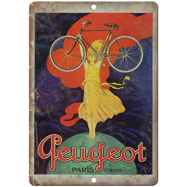 "Peugeot Paris Bicycle Vintage Ad 10"" x 7"" Reproduction Metal Sign B364"