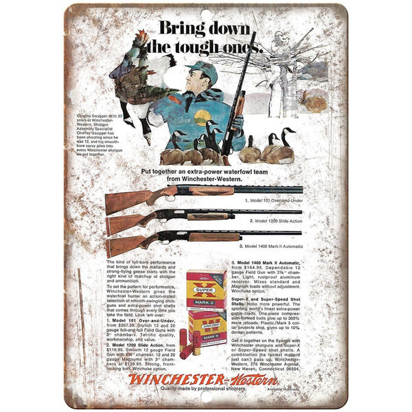 "Winchester Model 1400 Mark II Shotgun 10"" x 7"" Reproduction Metal Sign"