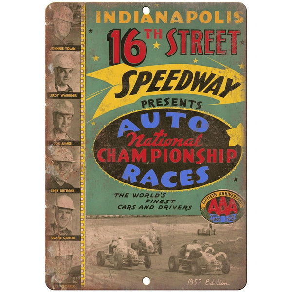 "1952 Indianapolis 16th street speedway car races 10"" x 7"" Retro Metal Sign"