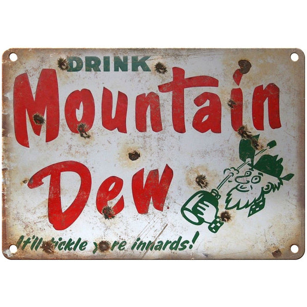 "Porcelain Look Drink Mountain Dew Soda 10"" x 7"" Reproduction Metal Sign"
